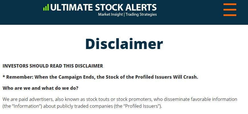 ultimate alerts disclamer