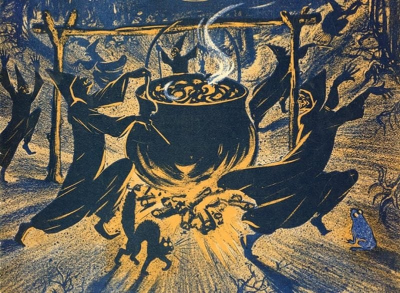 picture of witches dancing around a cattle
