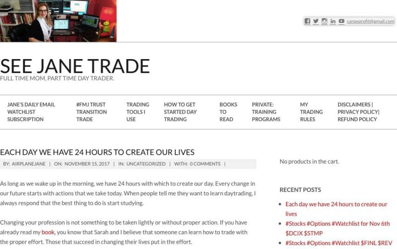 overview of another top trading blog - see jane trade