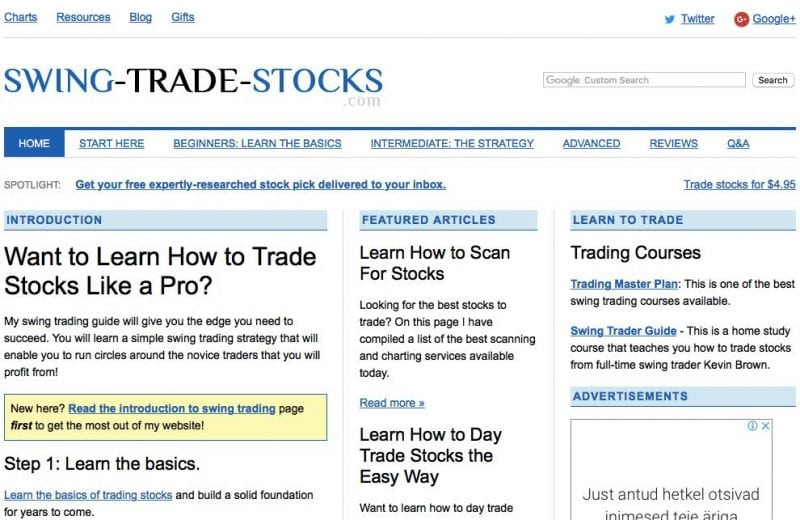 screenshot from swing trade stocks homepage