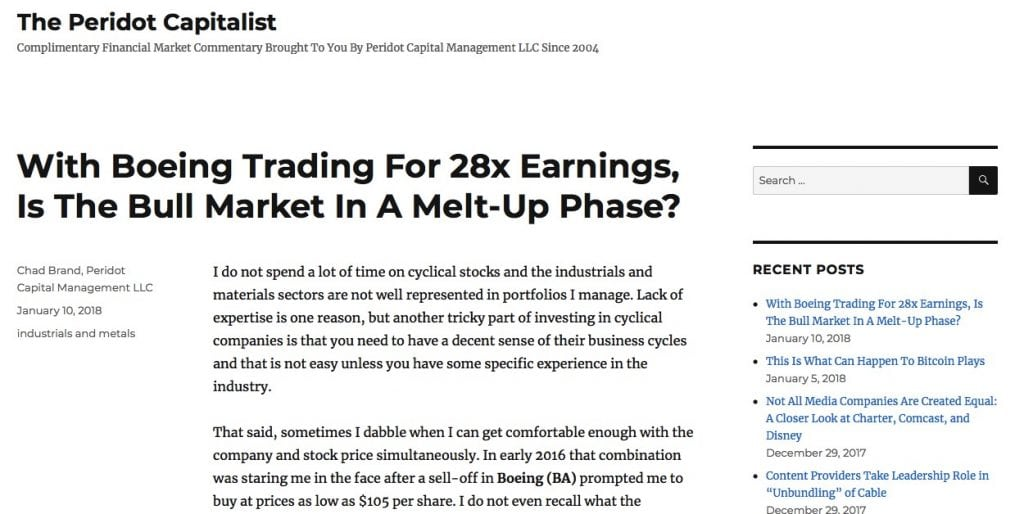 homepage of the peridot capitalist website