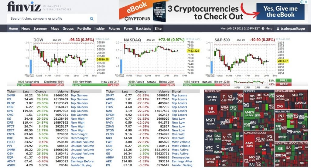 picture of finviz home page