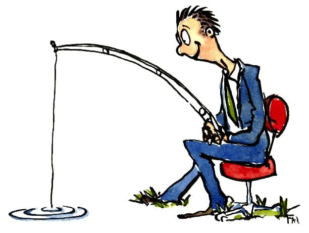 a man fishing cartoon